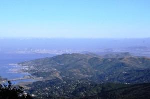 Blick vom Mt. Tamalpais auf San Francisco und Golden Gate Bridge.